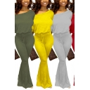 Basic Women's Jumpsuit Solid Color One Shoulder Long Sleeves Drawstring Waist Long Flare Cuffs Jumpsuit
