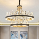 Black 1/2-Tiered Pendant Lighting Modern Crystal Icicle LED Ceiling Chandelier, 31.5