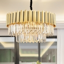 Prismatic Optical Crystal Tiers Chandelier Postmodern 8/10/24-Light Gold Finish Hanging Lamp for Dining Room