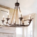 Wrought Iron Rust Chandelier Candlestick 6/8/12 Heads Farmhouse Hanging Pendant Light with Hemp Cord