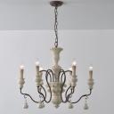 White Candelabra Chandelier Rustic Wood 3/6/8-Light Living Room Ceiling Suspension Lamp