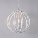 Wood Beaded Sphere Pendant Lamp Lodge 1/3/6-Light Dining Room Small/Medium/Large Chandelier in White/Grey