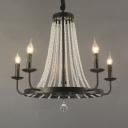 Black Candle Chandelier Lighting Retro Beaded Crystal 5/8/12 Bulbs Restaurant Suspension Light