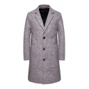 Mens Trench Coat Stylish Woolen Button up Long Sleeve Notched Lapel Collar Slim Fitted Trench Coat