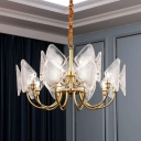 Brass 2 Tiers Pendant Lamp Postmodern Curved Glass Panel 12/15/18-Head Living Room Chandelier
