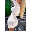 Novelty Womens Dress Solid Color Mini Slim Fitted High Neck Long Sleeve Bodycon Dress