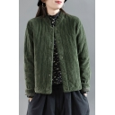 Elegant Women's Jacket Solid Color Corduroy Quilted Button-down Stand Collar Long Sleeves Regular Fitted Jacket