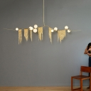 Gold Branch Hanging Light Fixture Postmodern 9-Light Frosted Ball Glass Chandelier with Chain Fringe