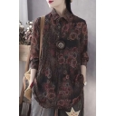 Womens Shirt Chic Floral Vine Geometric Print Linen Button Detail Spread Collar Loose Fit Long Sleeve Pullover Shirt