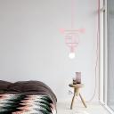 Macaron Creative Round/Oval Pendulum Light Metal 1 Bulb Bedside Down Lighting Pendant in Pink/Blue