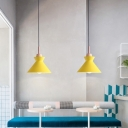 Macaron Bowl/Bell/Cone Pendant Lighting Metal 1 Head Cafe Hanging Ceiling Light in White/Yellow/Green with Wood Cork