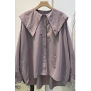 Trendy Womens Shirt Solid Color Button Closure Point Collar High-Low Long-sleeved Loose Fitted Shirt Blouse