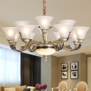 Frosted White Glass Flared Pendant Lamp Modern 12/15/18 Bulbs Chandelier Light with Carved Arm