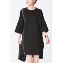 Elegant Ladies Dress Bell Sleeve Crew Neck Zipper Front Short A-line Dress in Black