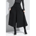 Girls Popular Black Pants High Rise Cropped Wide-leg Pants