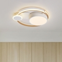 Round/Star and Planet Acrylic Ceiling Light Kids Style White/Gold LED Flush Mount Lighting in Warm/White Light, 19.5