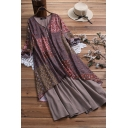 Vintage Women's Swing Dress Tribal Printed Button Front V Neck Long-sleeved Relaxed Fit Swing Dress