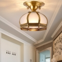 Antiqued Gold Dome Ceiling Light Traditional Opal Glass 1/3-Bulb Dining Room Lighting Fixture