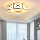 Traditional Floral Drum Chandelier 4/6-Light Frosted White Glass Flushmount/Downrod Ceiling Light in Gold