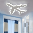Airplane Boys Bedroom Ceiling Lighting Acrylic Cartoon Small/Large LED Flush Mount in Warm/White/3 Color Light