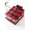 Womens Casual Shirt Plaid Pattern Long Sleeve Point Collar Button Up Embroidered Loose Shirt Top