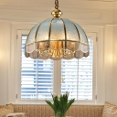 Gold 1/6-Head Hanging Light Traditional Water Glass Dome Chandelier Lamp with Scalloped Trim