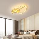 Loving Heart LED Ceiling Fixture Minimalist Acrylic Gold/Coffee Semi Flush Mount Light in White