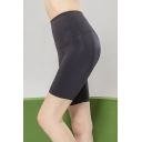 Girls Gym Shorts Solid Color High Waist Skinny Shorts in Black