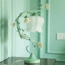 Milk Glass Blue/Green Nightstand Lamp Flowerbud 1 Head Pastoral Style Table Light with Scroll Arm