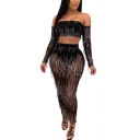 Sexy Womens Set Sequins Fringe Long Sleeve Off the Shoulder Fit Crop Top & Pants Set