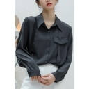 Fancy Women's Shirt Blouse Solid Color Flap Pocket Button Fly Spread Collar Long Sleeves Regular Fitted Shirt Blouse