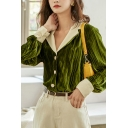Fancy Women's Contast Panel Button Closure Notched Lapel Collar Long Bishop Sleeves Regular Fitted Shirt Blouse