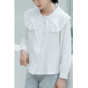 Womens Pretty Shirt Long Sleeve Peter Pan Collar Button Up Lace Panel Relaxed White Shirt