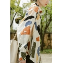Fashion Shirt Geo Printed Long Sleeve Spread Collar Button Up Loose Fit Shirt Top in White