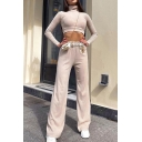Leisure Women's Co-ords Solid Color Ribbed Knit High Neck Long Sleeves Tee Top with High Elastic Waist Long Flare Pants Set