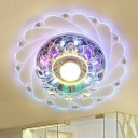 3/5w Swirling Clear Crystal Ceiling Lamp Modernism Silver LED Flush-Mount Light Fixture in Purple/Blue/Multi-Color Light