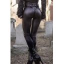 Popular Pants Black Mid Rise Ankle Length Skinny Leather Pants for Women