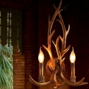 Lodge Style Antler Wall Light Kit 2-Head Resin Wall Mounted Light Fixture in Brown