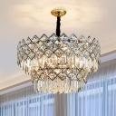 Stainless Steel Multi-Layer Chandelier Postmodernism 10/15/21 Heads Rhombus-Cut Crystal Hanging Ceiling Light