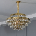 Gold Finish Layers Chandelier Lighting Mid-Century 12/18 Bulbs Oval Crystal Ceiling Pendant with Round/Linear Canopy, Small/Large