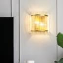 Half-Cylinder Living Room Wall Sconce Crystal Rod 2-Light Postmodern Style Wall Lamp Fixture in Gold