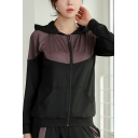 Womens Sport Jacket Stylish Color Block Panel Zipper up Hooded Regular Fit Long Sleeve Yoga Jacket