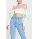 Fancy Womens Blouse Floral Print off the Shoulder Long Puff Sleeves Cropped Regular Fitted Satin Blouse Shirt