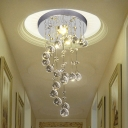 Nickel Round Flush Ceiling Light Simple Metal 1 Head Hallway Flush Mount Lighting with Spiral Crystal Drape