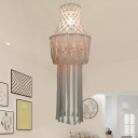 Single Knitted Vase Pendant Light Rustic Beige Hemp Rope Small/Large Ceiling Suspension Lamp with Fringe