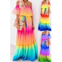 Fancy Women's A-Line Dress Multi Color Ombre Pattern off the Shoulder Elastic Neckline Tiered Ruffles Detail Regular Fitted Long A-Line Dress