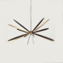 Dragonfly Hanging Chandelier Minimalist Metal 6 Lights Dining Room Suspension Pendant in Black and Brass