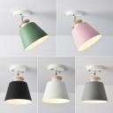 Tapered Swivelable Corridor Ceiling Light Metal Single Macaron Semi Flush Mount Lamp in Black/Grey/Pink
