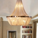 16 Lights Bedroom Ceiling Pendant Modern Silver/Gold Chandelier with Basket Aluminum Chain Shade