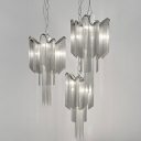 Silver Cascaded Chainlet Drop Lamp Modernist Aluminum LED Pendant Chandelier for Living Room